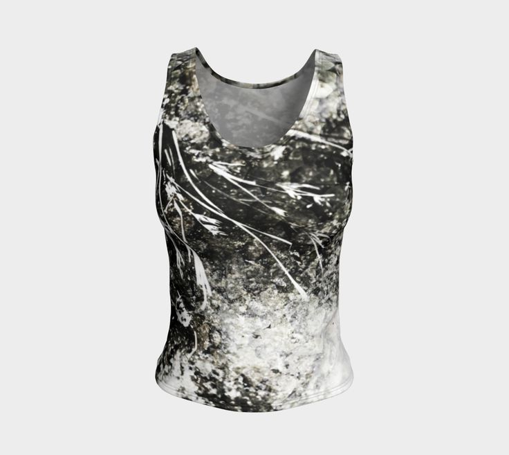"""Fitted+Tank+Top+""""Modern+Grunge+Nature+Dried+Weeds+Monochrome""""+by+Jocelyn+Ball"""