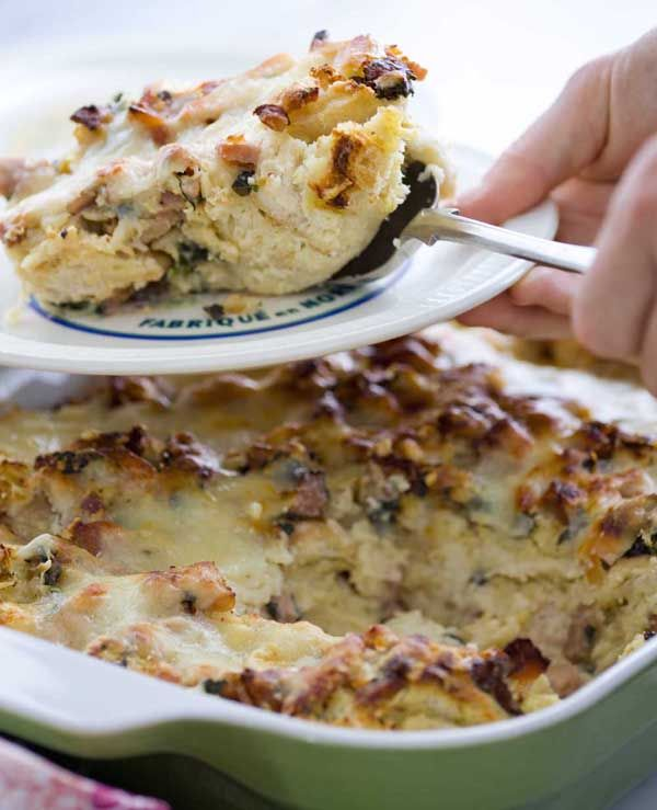 Ham, Cheese and Spinach Strata