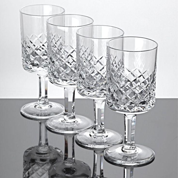 4 Weingläser Weißweingläser Waffel Schliff Kristall Gläser Zylinder Kuppa