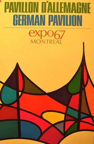 color & overlapping loops  1967 Vintage Montreal Poster - Expo 67 - German Pavillion Drawing
