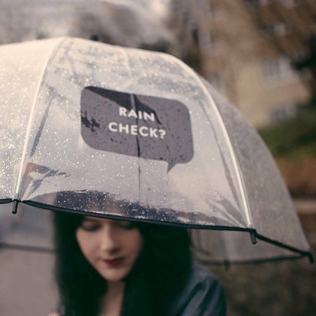 Rain Check Umbrella / This Rain Check Umbrella from Kate Spade is a clever way to draw some attention and also to send a message without actually having to say anything. http://thegadgetflow.com/portfolio/rain-check-umbrella/