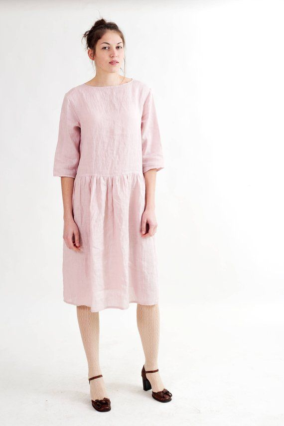 Loose blush pink linen dress with pockets. Oversized linen dress with  pockets. Natural flax drop wai 359ba18844