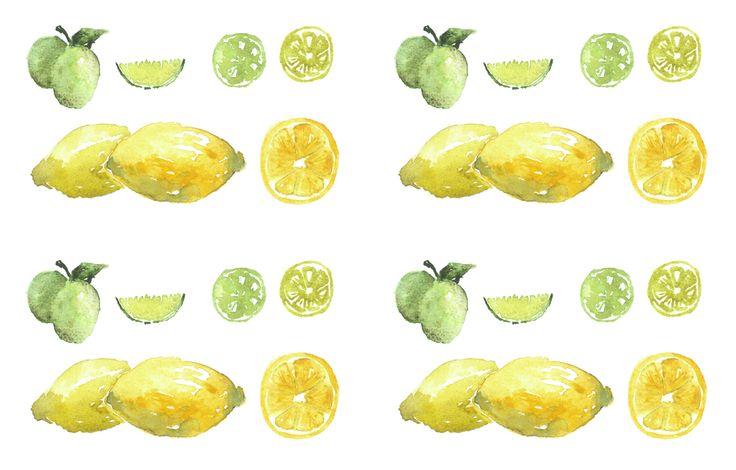 Lemons & Limes textile design for kitchen towels, etc