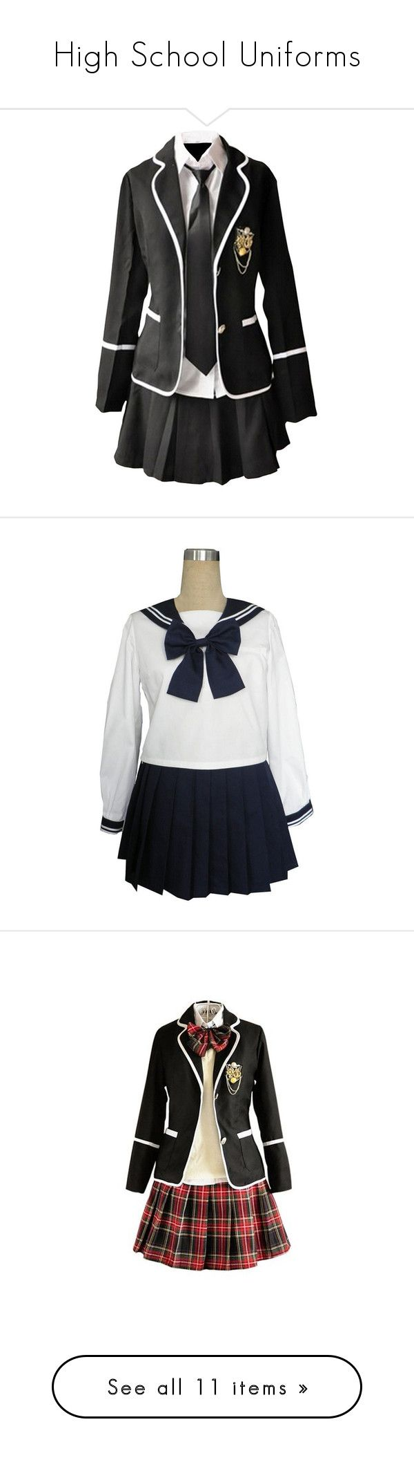 """""""High School Uniforms"""" by susanaxalex ❤ liked on Polyvore featuring dresses, uniform, outfits, school, costumes, skirts, cosplay, adult halloween costumes, cosplay halloween costumes and adult sailor costume"""