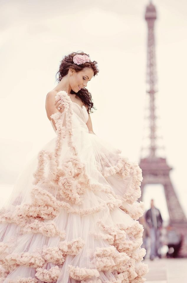 32 best ruffled wedding gowns images on pinterest for Pink ruffle wedding dress