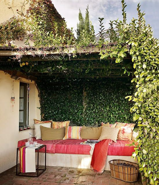 Love this under the wisteria...Ivy Covered Pergola - Great idea for a shady spot to spend outside and read in...