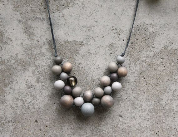 Wooden bead necklace grey bib necklace grey grey by LeafFeather