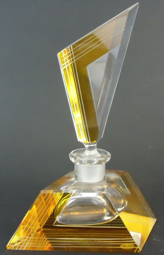 Art Deco Era Yellow Cut to Clear w Germany Crystal Glass Perfume Bottle