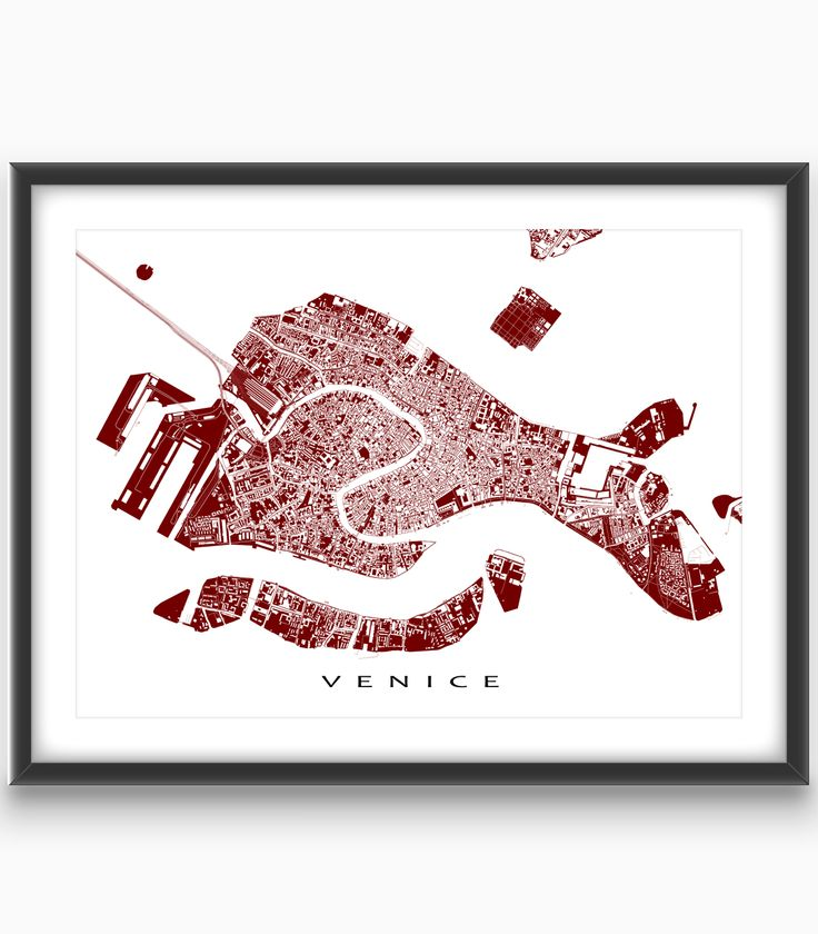 Venice #Italy  Modern, graphic and eye-catching. #Venice map art print with a white street network #design and #city buildings. Perfect for your #travel wall or to add to your existing home decor.