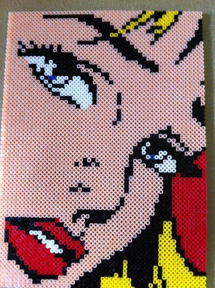 Girl with Hair Ribbon Lichtenstein perler by ~8bitEsh