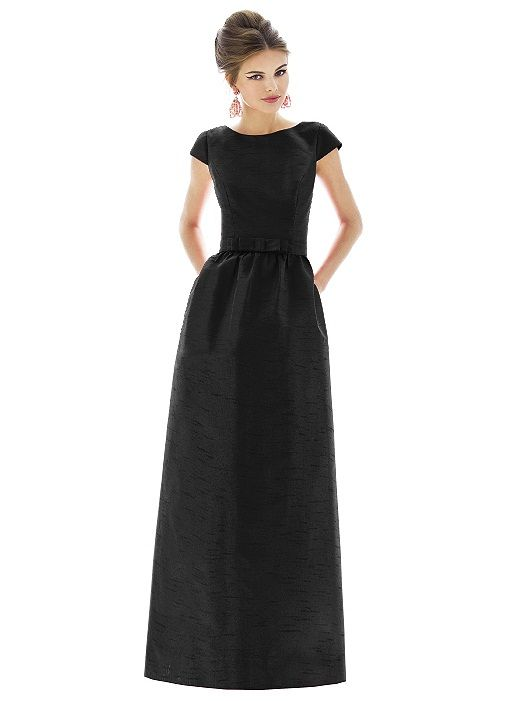 Cap Sleeve Floor Length Black. i don't usually like long bridesmaid dresses, but there's something about this one.... it reminds me of breakfast at tiffany's.