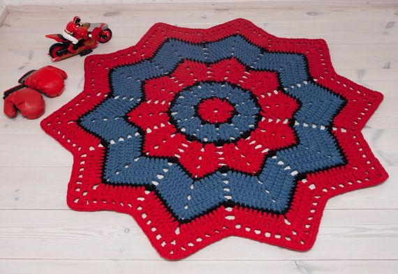 Spiderman doily rug - handmade rug - cotton rug - crochet carpet - lace rug - floor mat - round ripple - home decor 137 cm/54 in