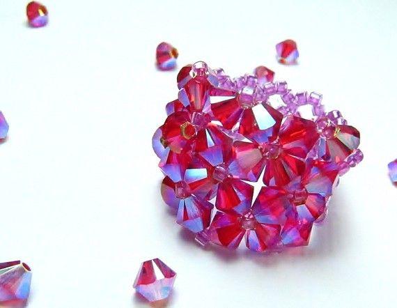 DeBella Swarovski stretch Ring  Pink Sweetheart by cissdena, $18.00