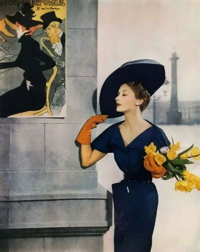 Understatedly, perfectly styled glamour as only the French can do. #Vogue #1949 #France #French #flowers #vintage #fashion #clothes #1940s