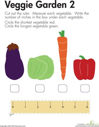 measuring length more veggies worksheets math and school. Black Bedroom Furniture Sets. Home Design Ideas