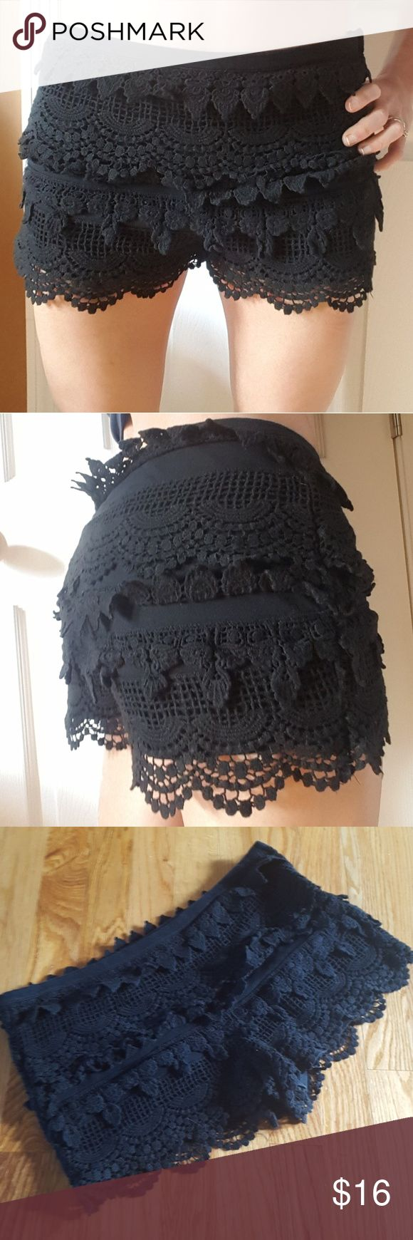 """Cute Black Crochet Shorts 100% Cotton Size M Super cute and versatile. Side zip. Great overall condition with some fading. Please note that the actual crochet may have some fraying or other minor signs of use. 100% cotton.   Waist approx 15.5"""" when flat, rise 10"""", inseam 1.5"""". For reference, I'm 5'6 with a 27"""" waist and 37"""" hip and these are big on me in the waist area. I just pulled them on. GB Shorts"""