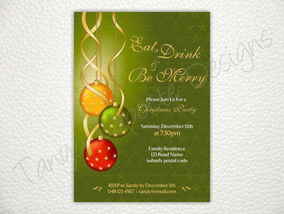 Christmas Party Invitation  Eat Drink & Be Merry
