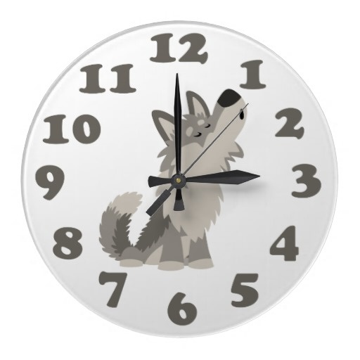 Cute Howling Cartoon Wolf and Numbers Wall Clock by Cheerful Madness!! at Zazzle #zazzle #tshirts #kawaii #cute #cartoon #wolf #clock #wallclock #children #howling #gifts