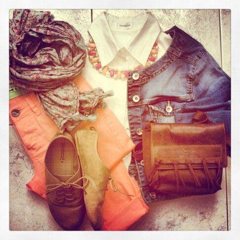 My Outfit. Coral bottom white shirt jeans jacket floral scarf #Terranova #Stradivarius #H&M #Motivi