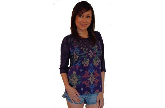 Women's Blouse Top. Hand made from Indonesian by SignatureofNana