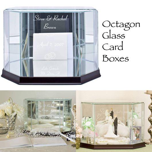 Website:  WeddingsAreFun.com  Octagon Glass Wedding Card Box. Weddings Are Fun!
