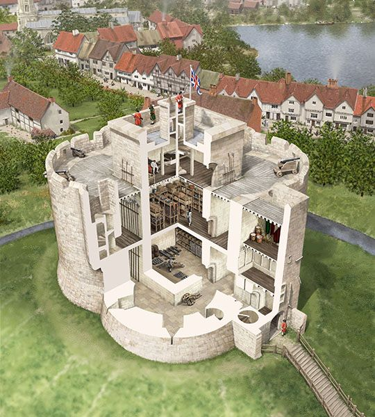 This cutaway reconstruction drawing shows the structures within Clifford's Tower as they appear in plans and views of the 1680s