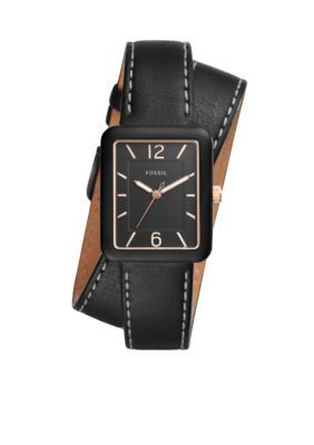 Fossil Women's Atwater Three-Hand Leather Wrap Watch - Black - One Size