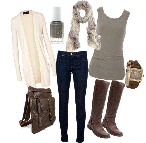"""""""Gray, cream & brown"""" by tonya-diehl on PolyvoreColors Combos, Casual Fall Outfits, Colors Combinations, Riding Boots, Art Gray, Brown Outfit, Brown And Gray Fall Clothing, Cream Brown, Dreams Closets"""