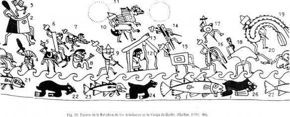 La rebelión de los artefactos - Mural en la Huaca de la Luna, cultura Mochica, Perú.