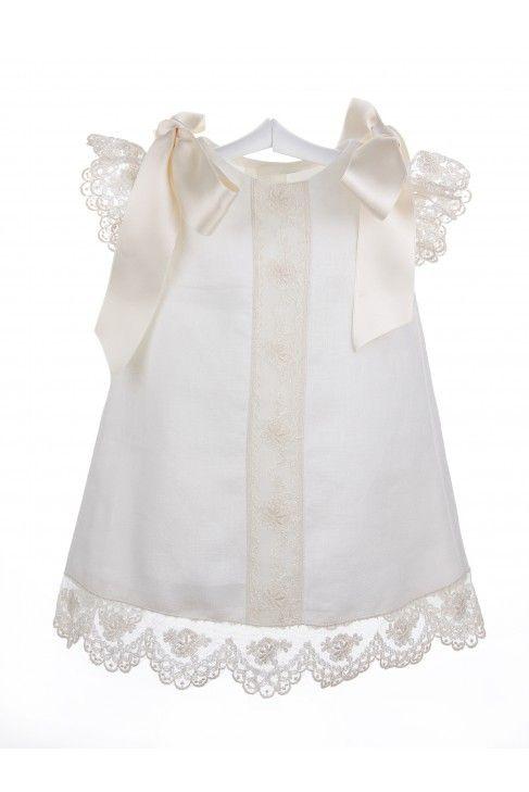 Vestido de hilo con encaje de Alençon para bebés. Vestido de lino en color…