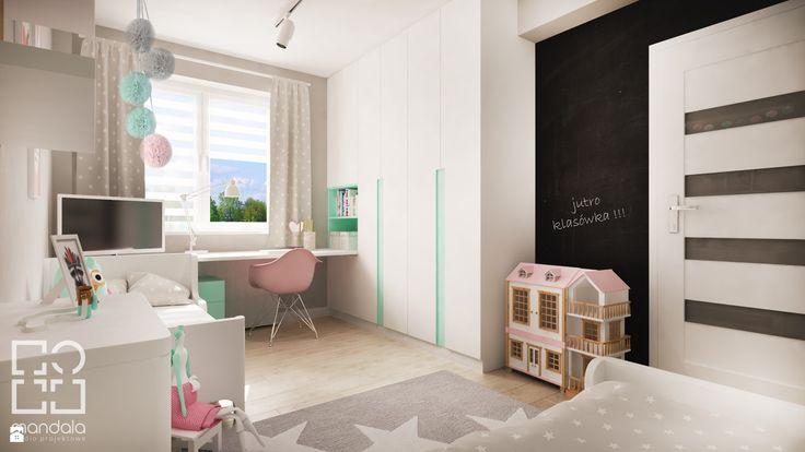 Pokój dla dwóch dziewczynek (12 m2) - zdjęcie od studio_projektowe_mandala - Pokój dziecka - Styl Skandynawski - studio_projektowe_mandala