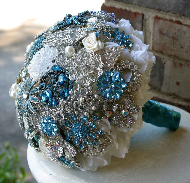 Brooch wedding bouquet Something Blue. Deposit on a made to order bridal bouquet. Please read description.. $75.00, via Etsy.