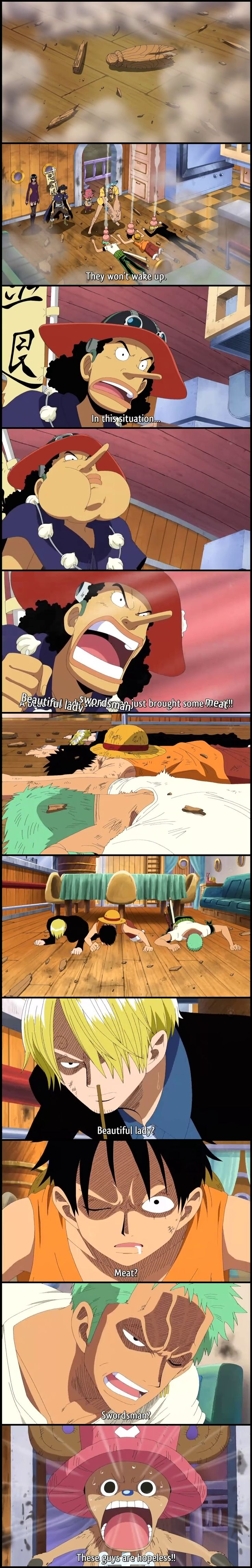 """What makes the Monster Trio tick? """"BEAUTIFUL LADY SWORDSMAN just brought some MEAT."""""""