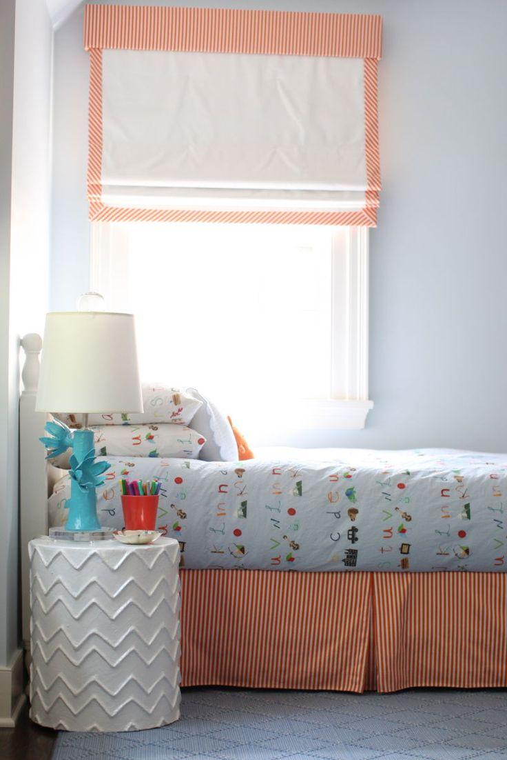 Cynthia Brooks Design | Orange & White Stripes on Trim of Roman Blinds