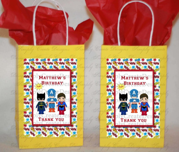 Super Hero Boys Party Favor Tags  4x6 JPEG by SimplyCreateDesigns, $5.75