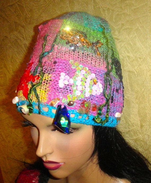 knitted cap handmade   in the DEPTHS of the SEA for girls and wom