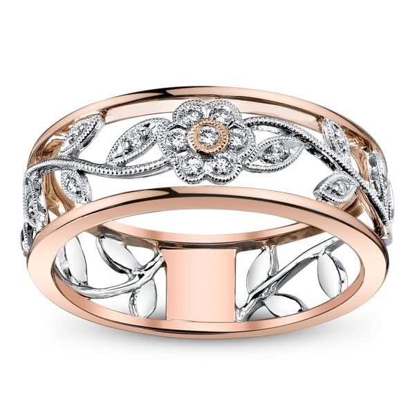 Simon G. 18K White and Rose Gold Diamond Anniversary Ring