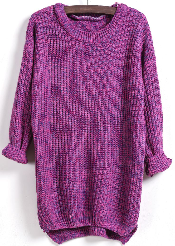 Purple Long Sleeve Dipped Hem Loose Sweater 16.48