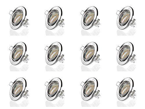 sweet led® 12 Stück x Einbaustrahler Set Led GU10 3W Warmweiß 230V Einbau Rahmen | Einbauspots |Einbauleuchten |Einbaulampen (Round Chrom Gebürstet) #sweet #led® #Stück #Einbaustrahler #Warmweiß #Einbau #Rahmen #Einbauspots #|Einbauleuchten #|Einbaulampen #(Round #Chrom #Gebürstet)