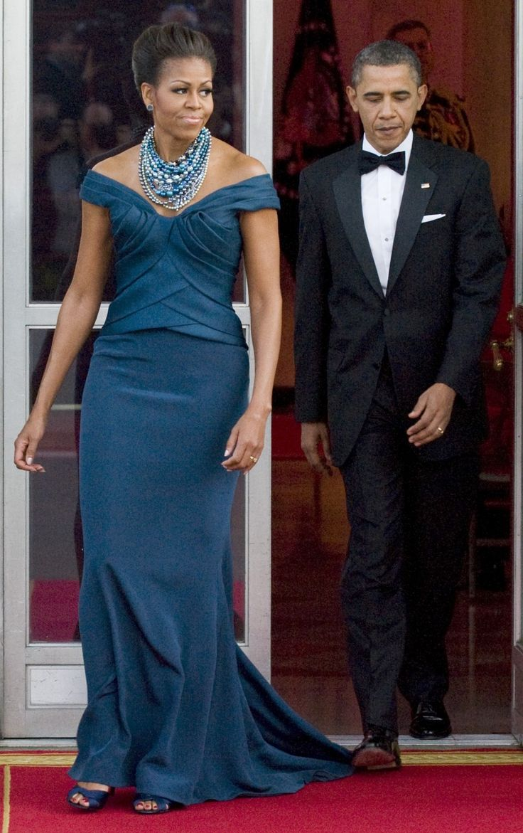 Michelle wore marchesa who also attended the dinner at the white house with uk prime minister david cameron and his wife samantha