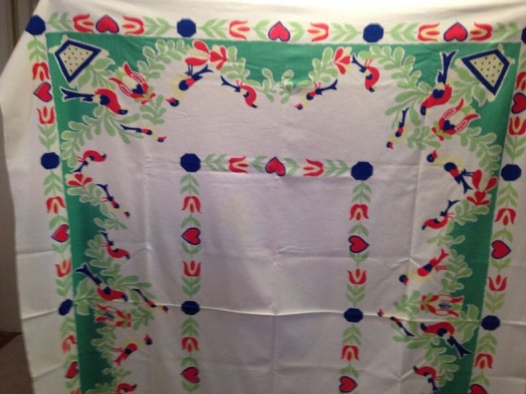 "Vintage Cotton Oblong Tablecloth with colorful Birds STARTEX STARMONT 54""x62"""