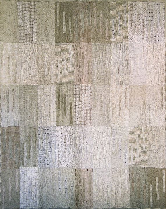 Patchwork Quilt - cream and beige Japanese Whisper throw - lovely, subtle - both the design and the colors.