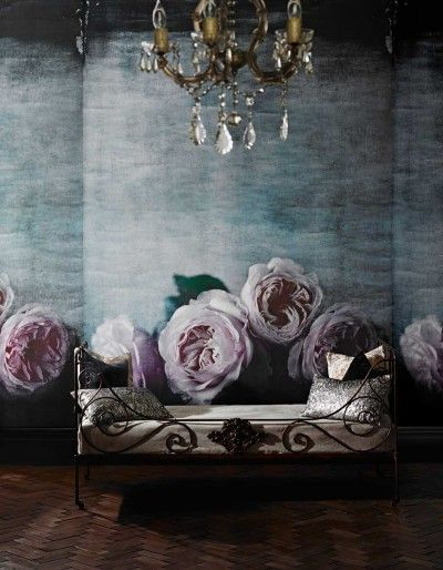 Ophelia (SPW0020-01) - Sidney Paul & Co Murals - Create a stunning statement wall with this large roses mural in soft delicate pinks and greeny blues. This mural design is 210cm W x 300cm H and is supplied on a roll 70cm wide and 9m long. Paste the wall product.