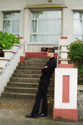 Robin outside Jane Crookall House on the Isle of Man, where he was born