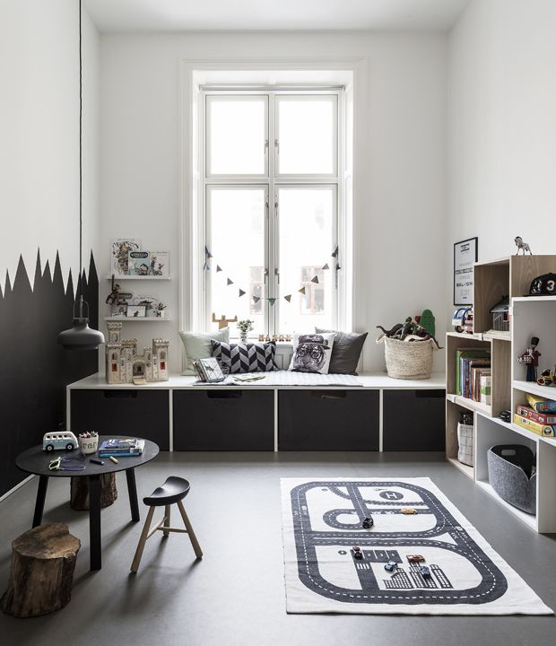 Great siting and relax corner under the window in child's room