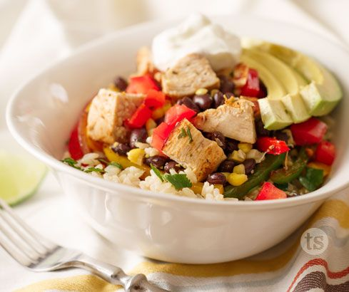 Chipotle Chicken Rice Bowl - Bring the burrito joint home with this delicious Chipotle Chicken Rice Bowl recipe. Prepared with Chipotle Beer Marinade Mix.