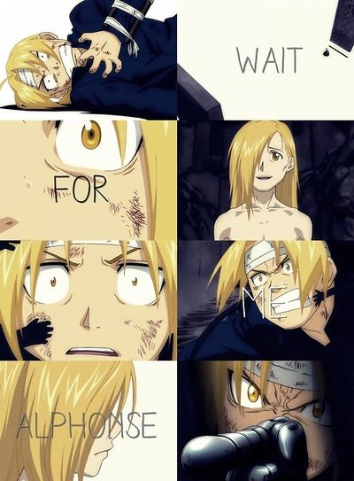 """Fullmetal Alchemist: Brotherhood"""" - Edward and Alphonse are reunited for a brief moment. UGH!! That scene is so sad."""