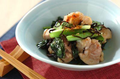 鶏肉と小松菜の塩昆布炒め