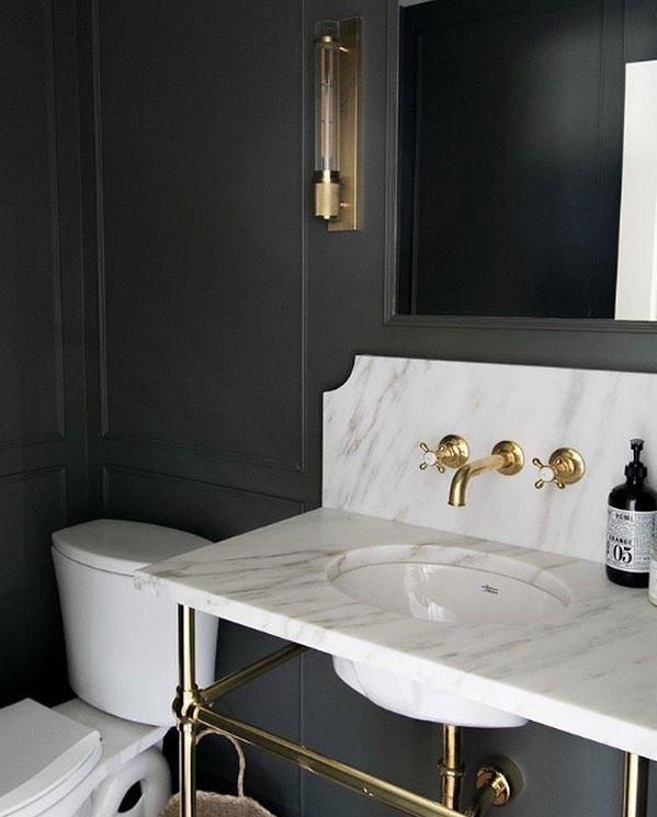 Waterworks On Instagram A Dark Dramatic Bath Dressed Up With Highgate In Unlacquered Brass Carolinelevensonde In 2020 Shower Fixtures Bath Dress Unlacquered Brass