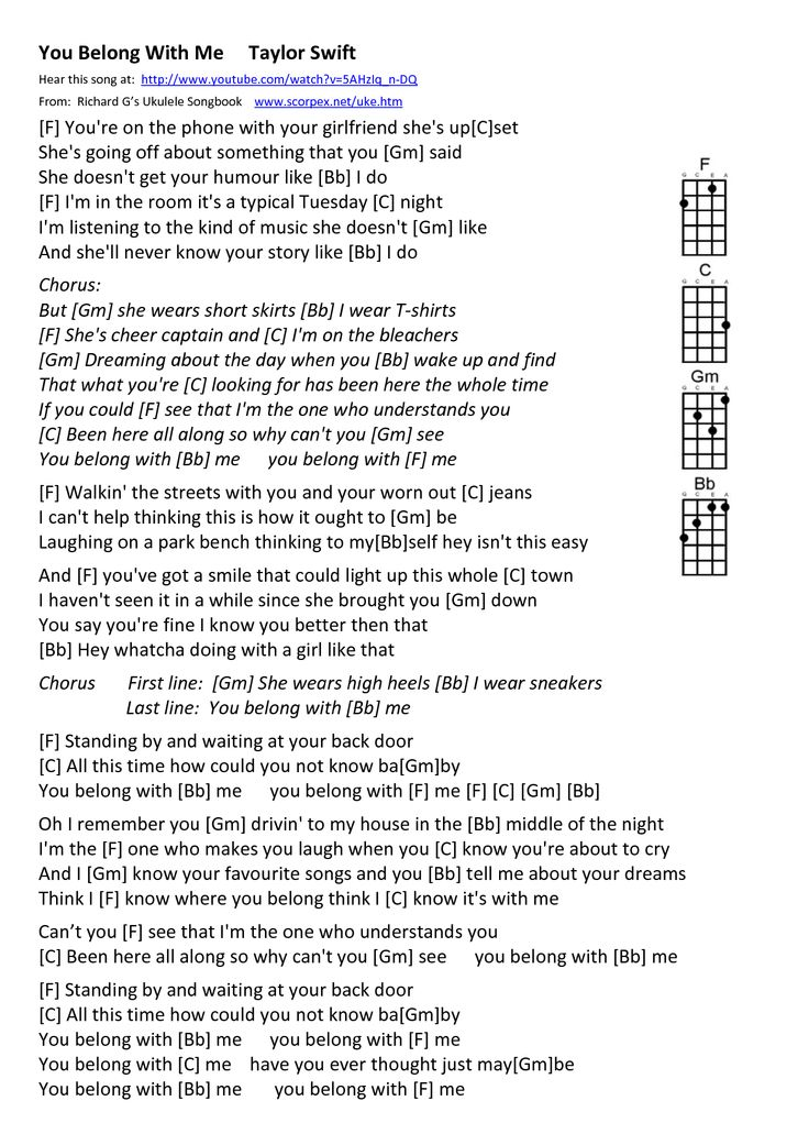Taylor Swift Song Lyrics | You Belong With Me Taylor Swift ...